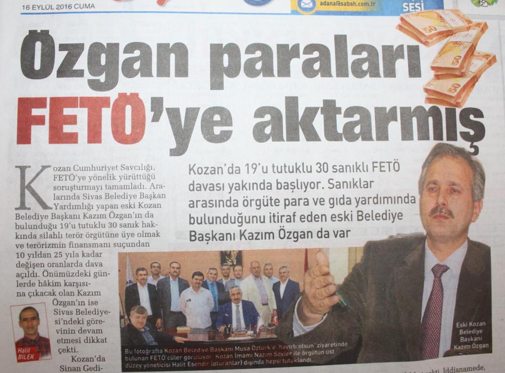 KAZIM ÖZGAN HALKIN PARASINI FETÖ'YE AKTARMIŞ.